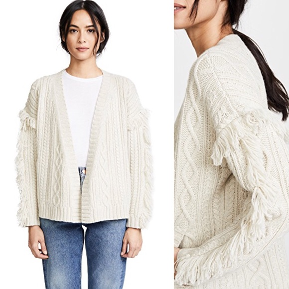 5577094d Madewell Sweaters - Madewell // Cable Knit Fringe Cardigan Sweater